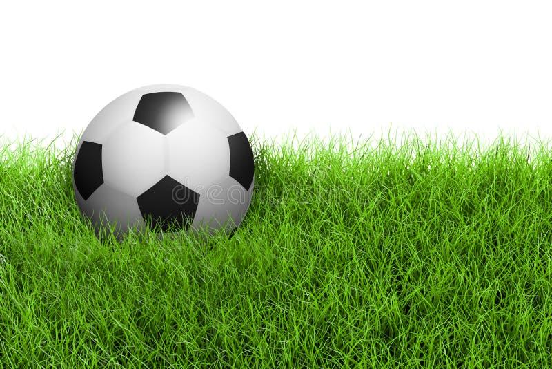 Football Soccer Ball on Green Grass Field royalty free stock photos
