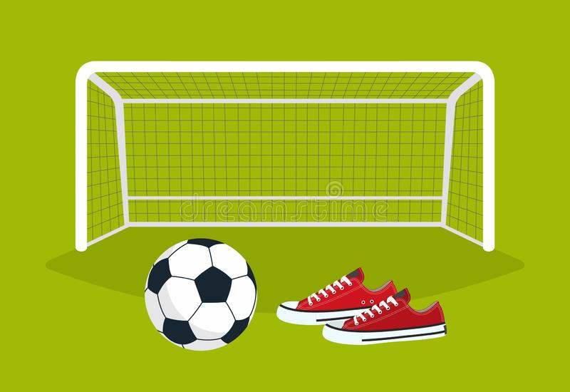 Football. Soccer ball and sneakers on the green field in front of the gate. Vector illustration vector illustration