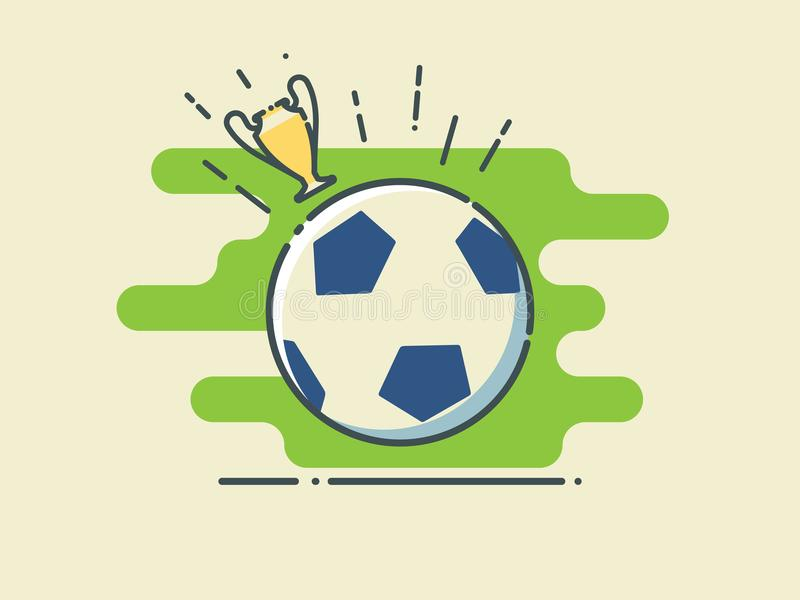 Football / Soccer Ball On Stylized Green Field With Golden Cup. royalty free illustration