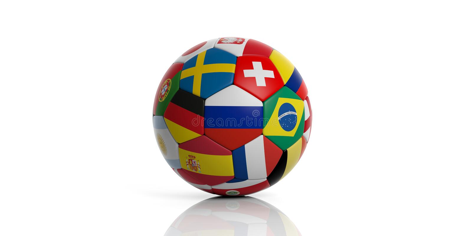Football soccer ball with world flags isolated on white background. 3d illustration royalty free illustration