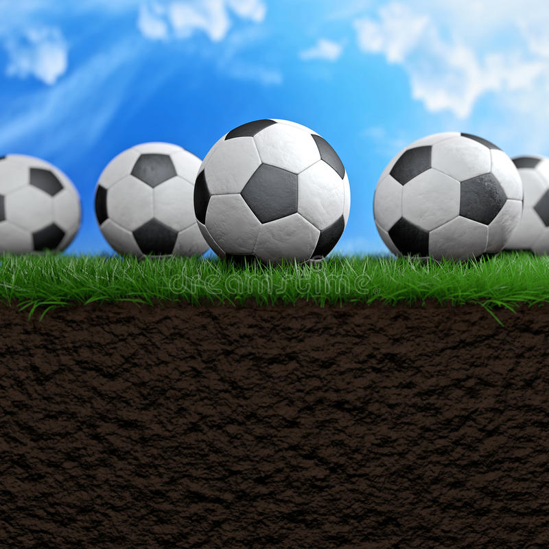 Football or soccer balls. On the grass 3d illustration stock illustration