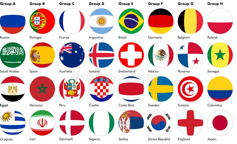 Football soccer balls made from flags. Balls created from the flags of the 32 nations qualified for the soccer football world cup 2018 in Russia. The balls are vector illustration