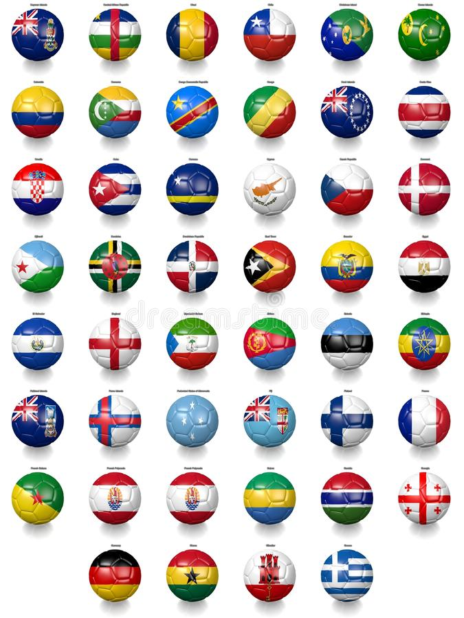 Football soccer balls with national flag textures royalty free illustration