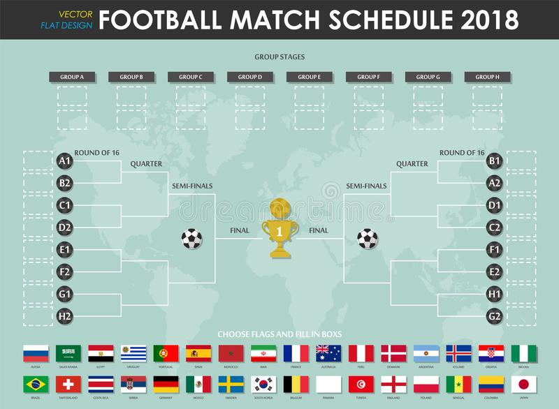 Football or soccer cup match schedule and wall chart . Vector for international world championship tournament 2018 . Flat design stock illustration