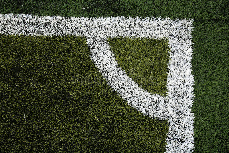 Football or soccer field at conner royalty free stock photography
