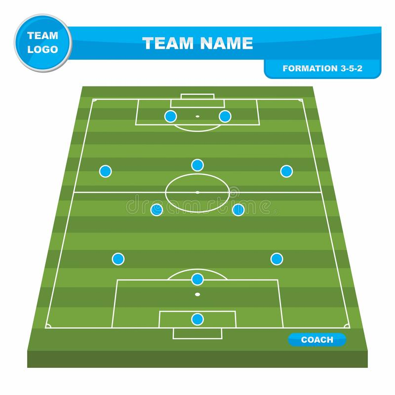Football Soccer formation strategy template with perspective field 3-5-2. Football Soccer formation strategy template with perspective field 3-5-2 vector royalty free illustration