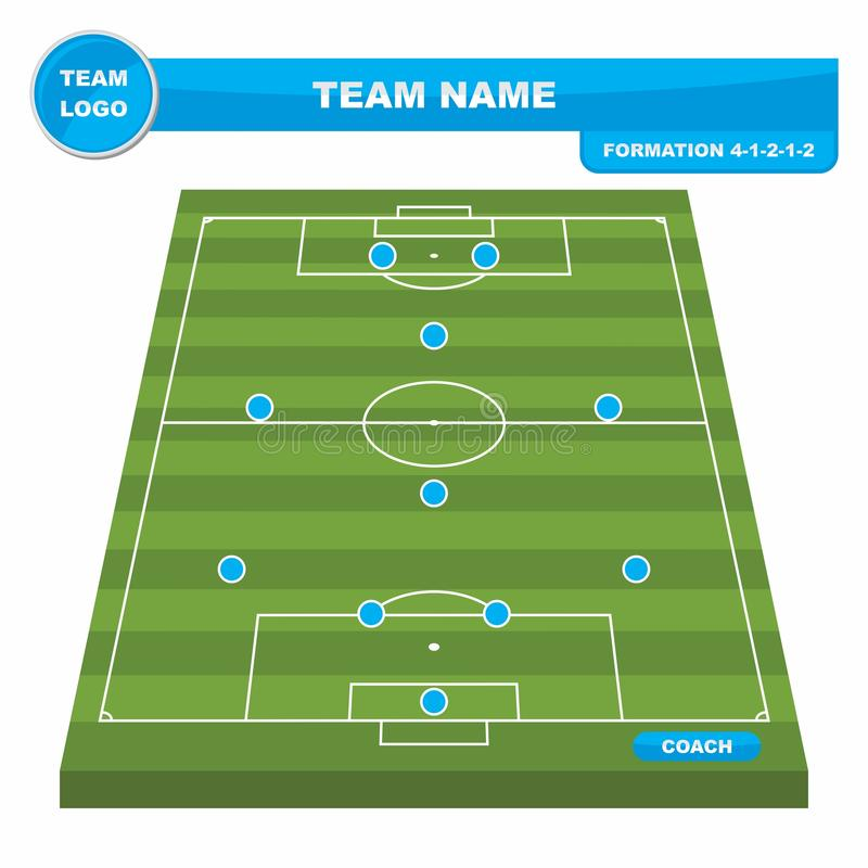 Football Soccer formation strategy template with perspective field 4-1-2-1-2. Football Soccer formation strategy template with perspective field 4-1-2-1-2 vector illustration
