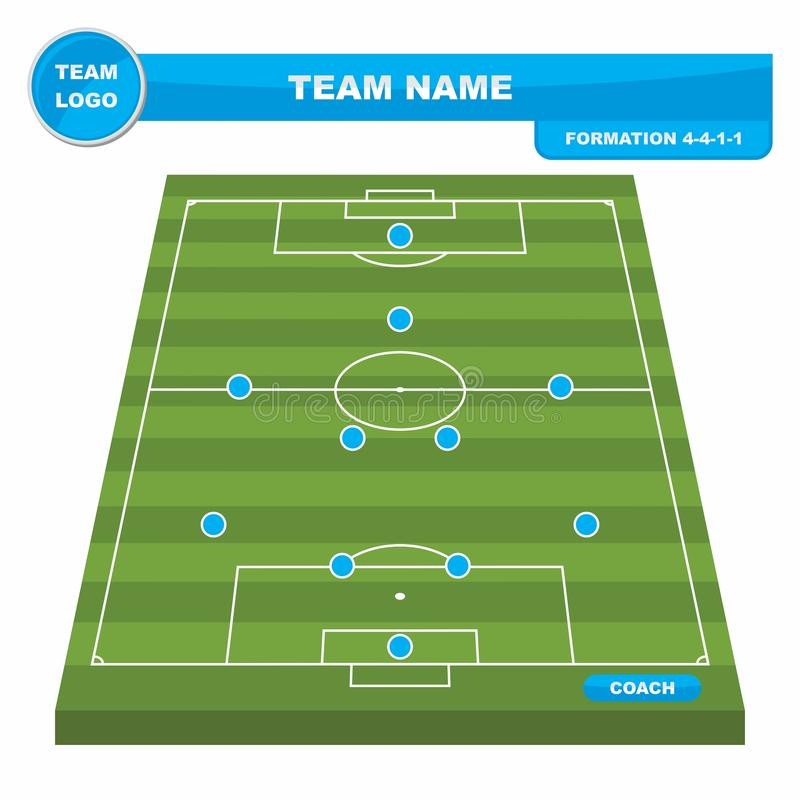 Football Soccer formation strategy template with perspective field 4-4-1-1. Football Soccer formation strategy template with perspective field 4-4-1-1 vector royalty free illustration