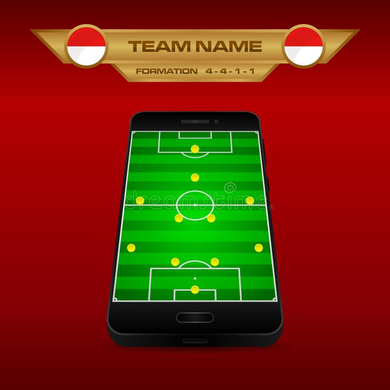 Football Soccer formation strategy template with perspective field on smartphone 4-4-1-1. Football Soccer formation strategy template with perspective field on stock illustration