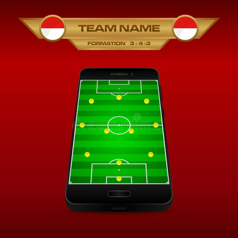 Football Soccer formation strategy template with perspective field on smartphone 3-4-3. Football Soccer formation strategy template with perspective field on vector illustration