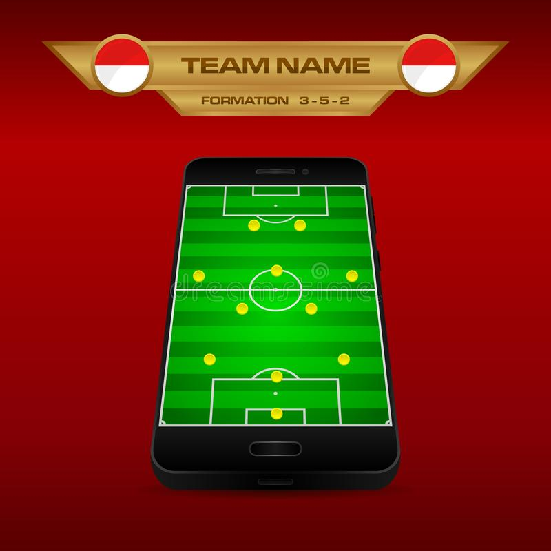 Football Soccer formation strategy template with perspective field on smartphone 3-5-2. Football Soccer formation strategy template with perspective field on stock illustration