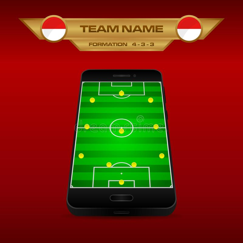 Football Soccer formation strategy template with perspective field on smartphone 4-3-3. Football Soccer formation strategy template with perspective field on vector illustration