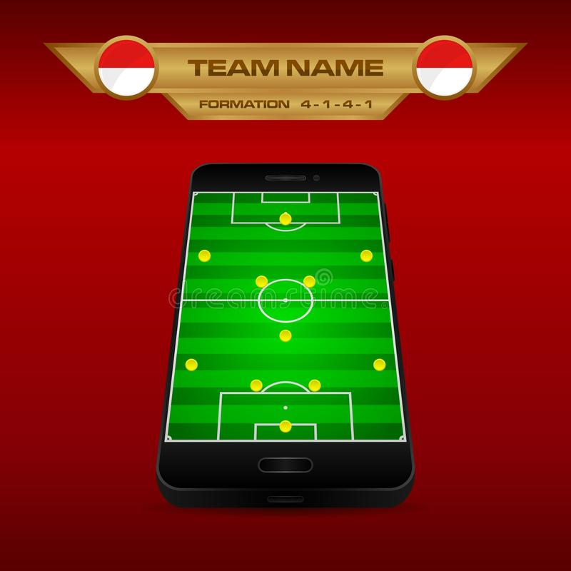 Football Soccer formation strategy template with perspective field on smartphone 4-1-4-1. Football Soccer formation strategy template with perspective field on royalty free illustration