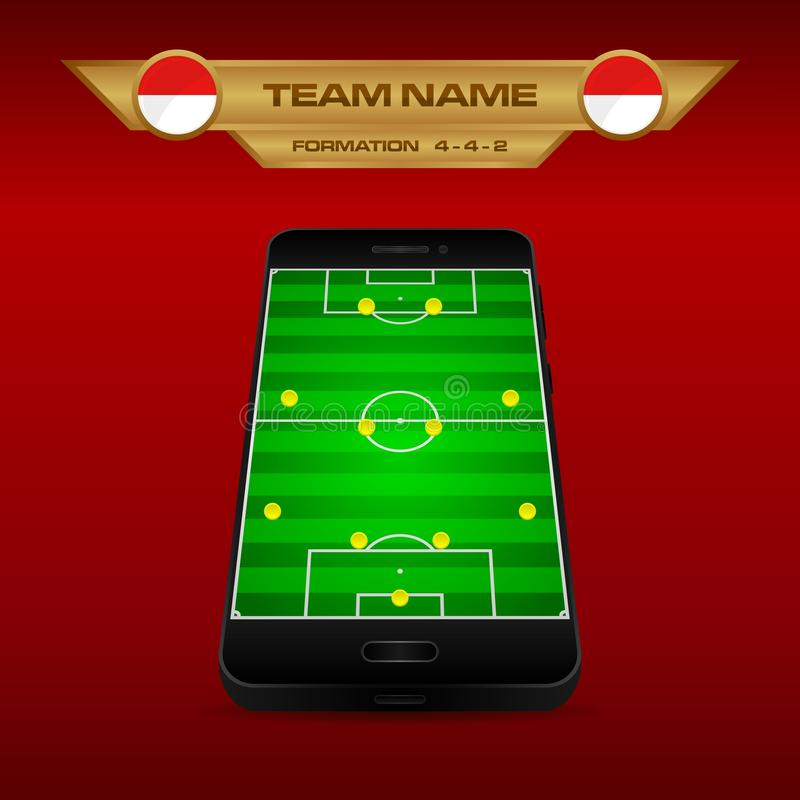 Football Soccer formation strategy template with perspective field on smartphone 4-4-2. Football Soccer formation strategy template with perspective field on vector illustration