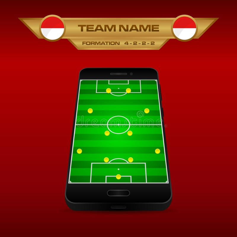 Football Soccer formation strategy template with perspective field on smartphone 4-2-2-2. Football Soccer formation strategy template with perspective field on vector illustration