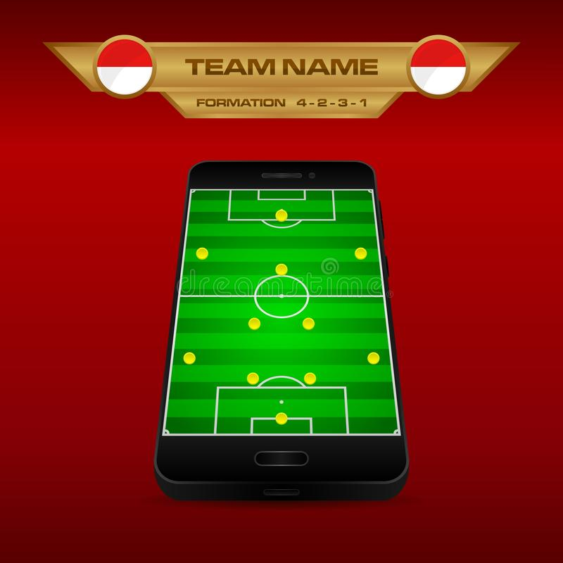 Football Soccer formation strategy template with perspective field on smartphone 4-2-3-1. Football Soccer formation strategy template with perspective field on royalty free illustration