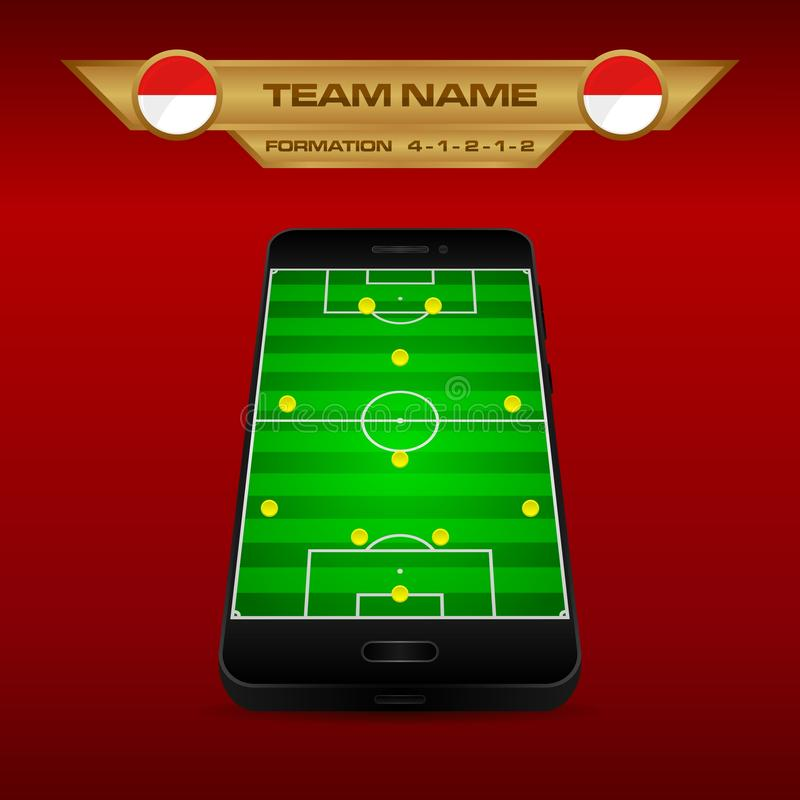 Football Soccer formation strategy template with perspective field on smartphone 4-1-2-1-2. Football Soccer formation strategy template with perspective field vector illustration
