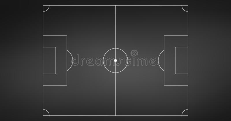 Football or soccer game field isolated on blackboard with white lines. Sport background or infographics element. Vector. Illustration isolated on white vector illustration