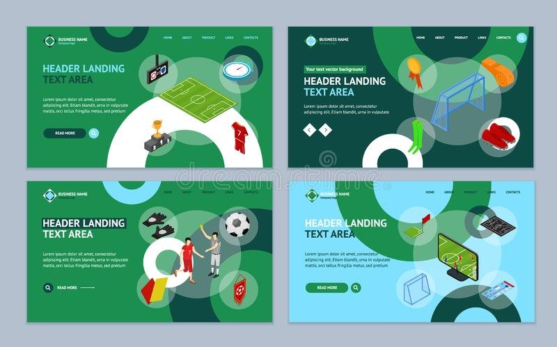 Football or Soccer Game Landing Web Page Template Set Isometric View. Vector vector illustration