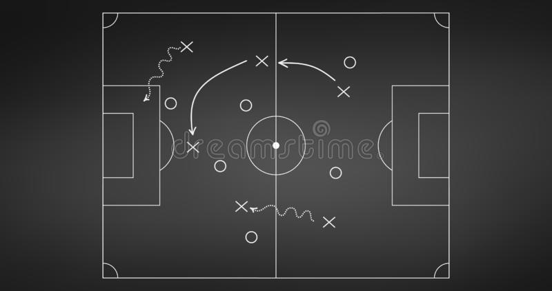 Football or soccer game strategy plan isolated on blackboard background. Sport element. Vector illustration isolated on white vector illustration
