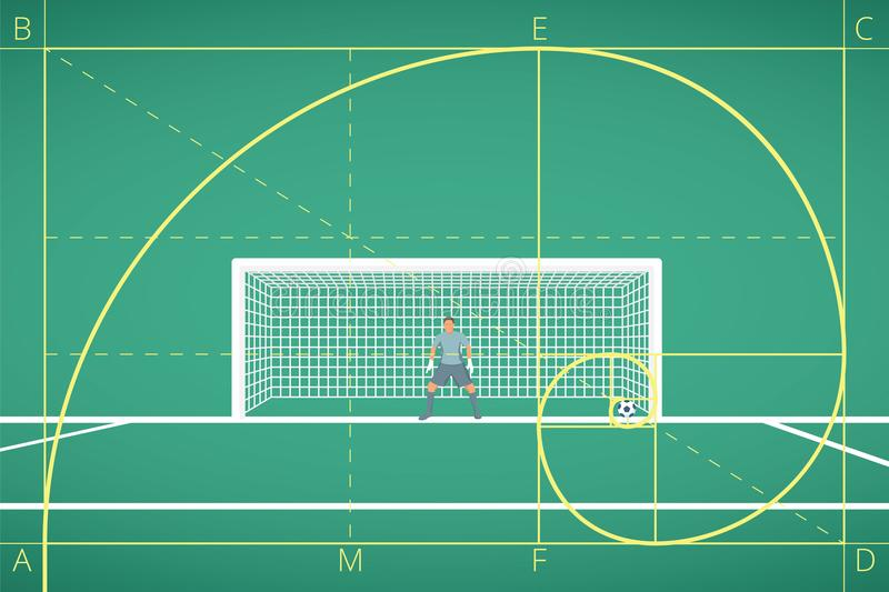 Football / Soccer Goalkeeper Stand at Goal on Field. Mathematical Calculation of Flight of Ball. Principle of The Golden Ratio. royalty free illustration