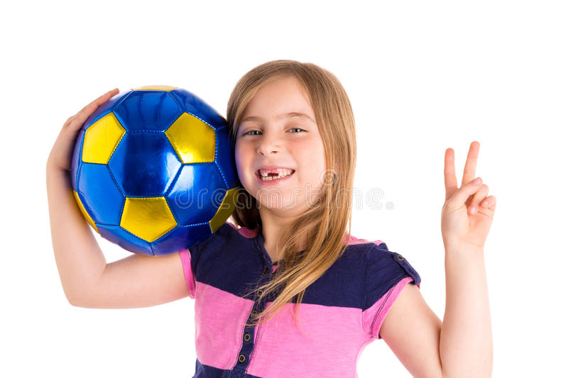 Football soccer kid girl happy player with ball royalty free stock images