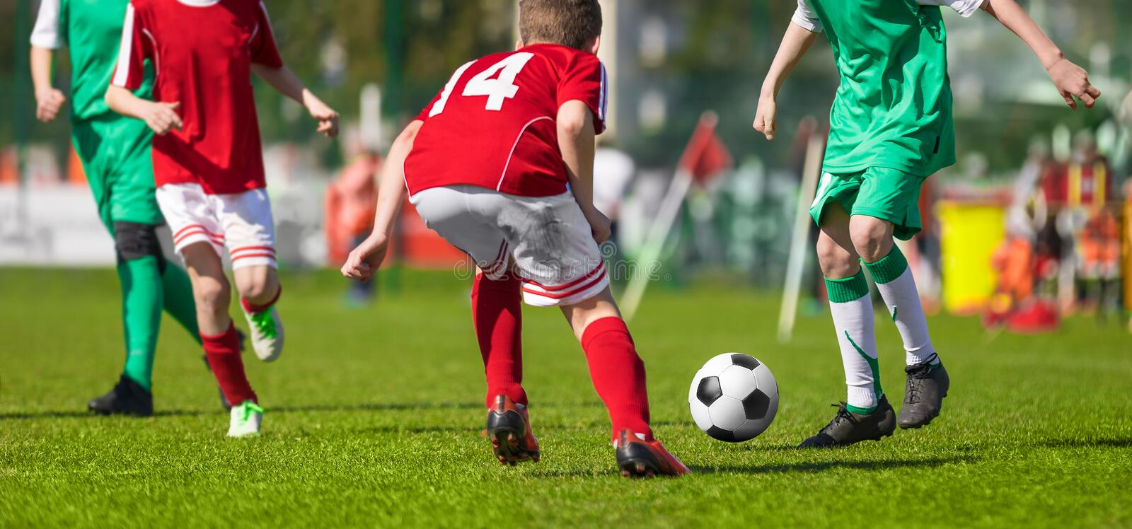 Football Soccer Match for Kids. Young Football Athletes. Coaching Youth Football stock photo