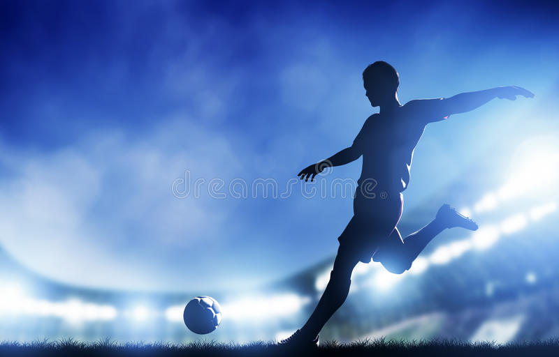 Football, soccer match. A player shooting on goal. Lights on the stadium at night royalty free illustration