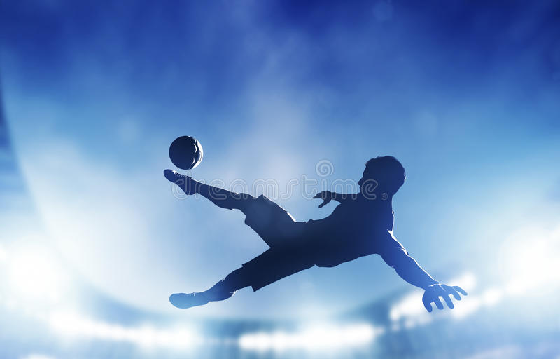 Football, soccer match. A player shooting on goal. Performing a bicycle kick. Lights on the stadium at night royalty free illustration