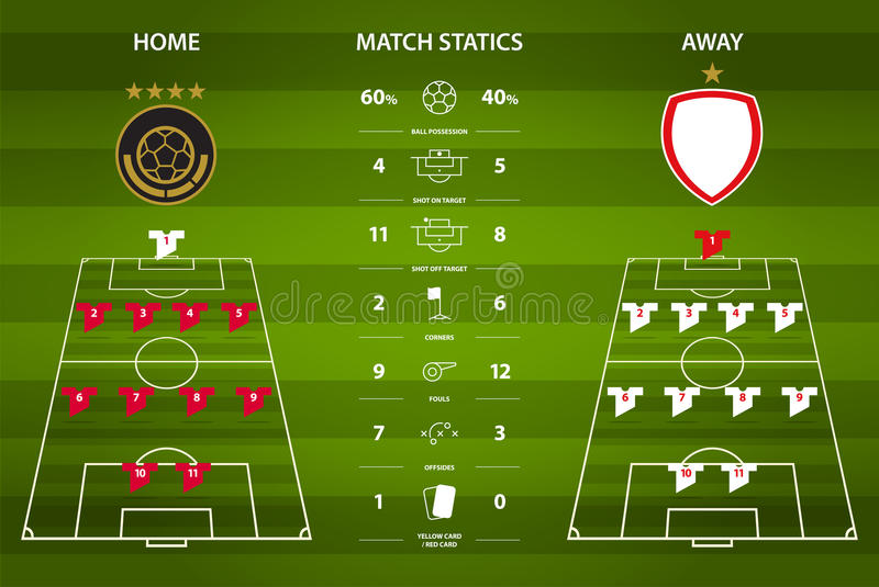 Football or soccer match statistics infographic. Flat design. Vector Illustration. vector illustration