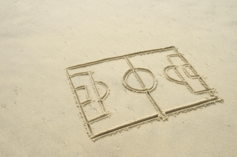 Line Drawing Beach : Football soccer pitch line drawing in sand stock photo