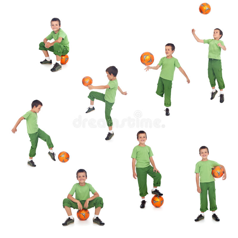 Football or soccer player boy. In different positions - isolated, sports collage stock images
