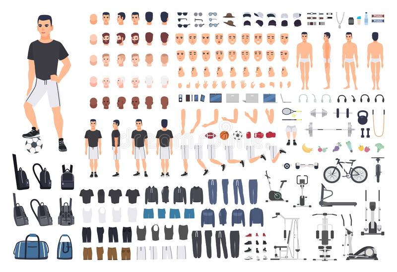 Football or soccer player creation kit. Bundle of man`s body parts, poses, sports clothes, exercise machines isolated on stock illustration