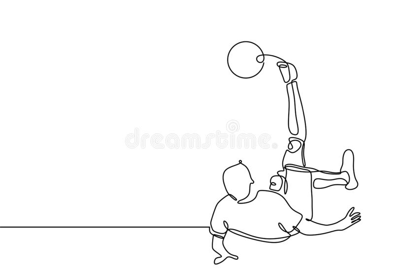 Football soccer player kick a ball continuous one line drawing minimalist design sport theme. Competition, action, athlete, male, game, man, motion stock illustration