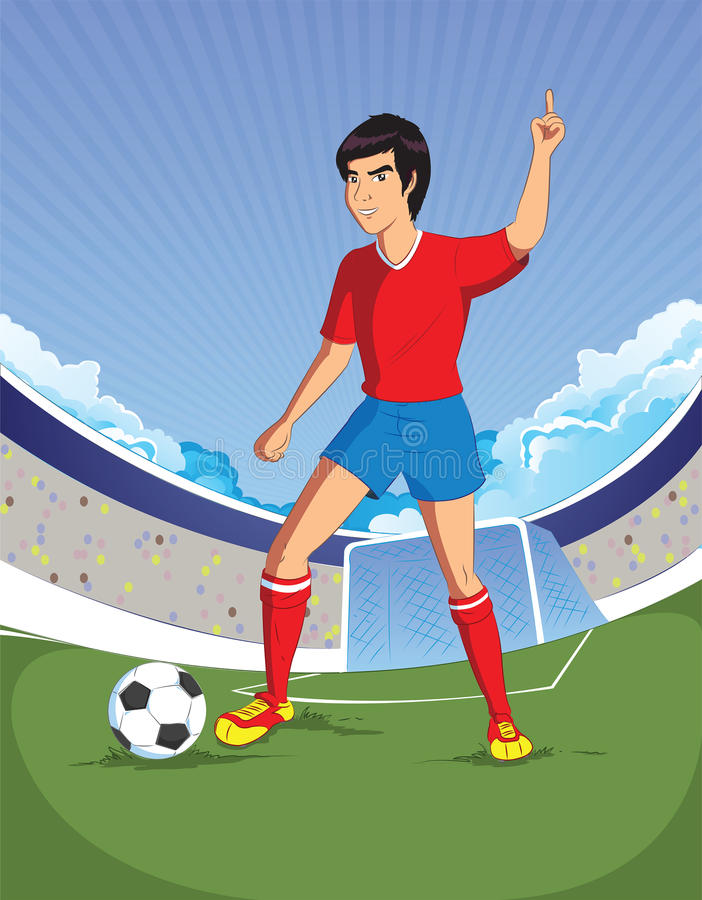 Football soccer player is number one in a stadium background royalty free illustration