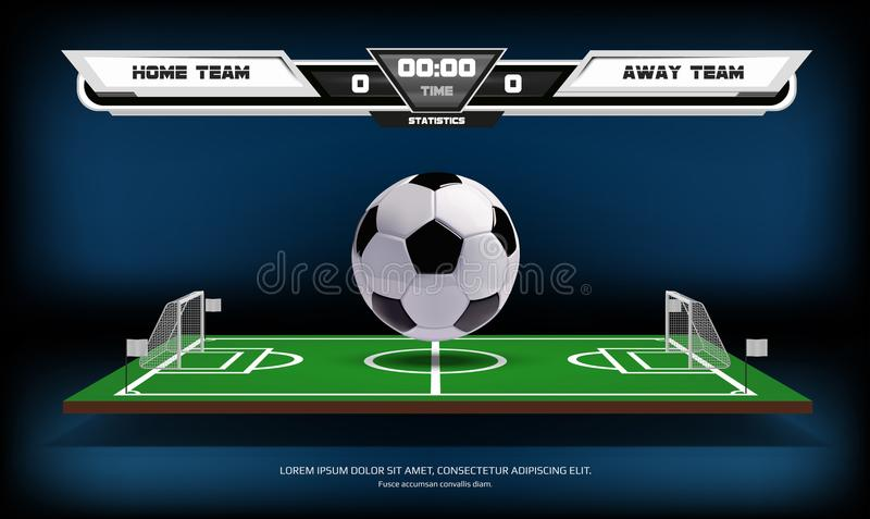 Football or soccer playing field with infographic elements and 3d ball. Sport Game. Football stadium spotlight and. Scoreboard background vector illustration royalty free illustration