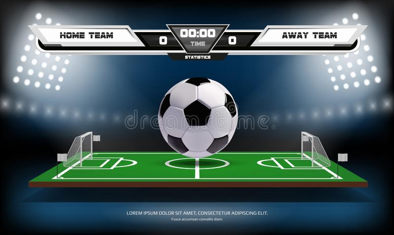 Football or soccer playing field with infographic elements and 3d ball. Sport Game. Football stadium spotlight and. Scoreboard background vector illustration stock illustration