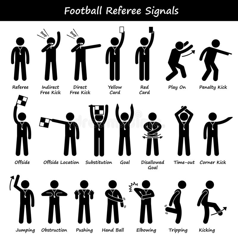Free Football Soccer Referees Officials Hand Signals Cliparts Stock Images - 53598674
