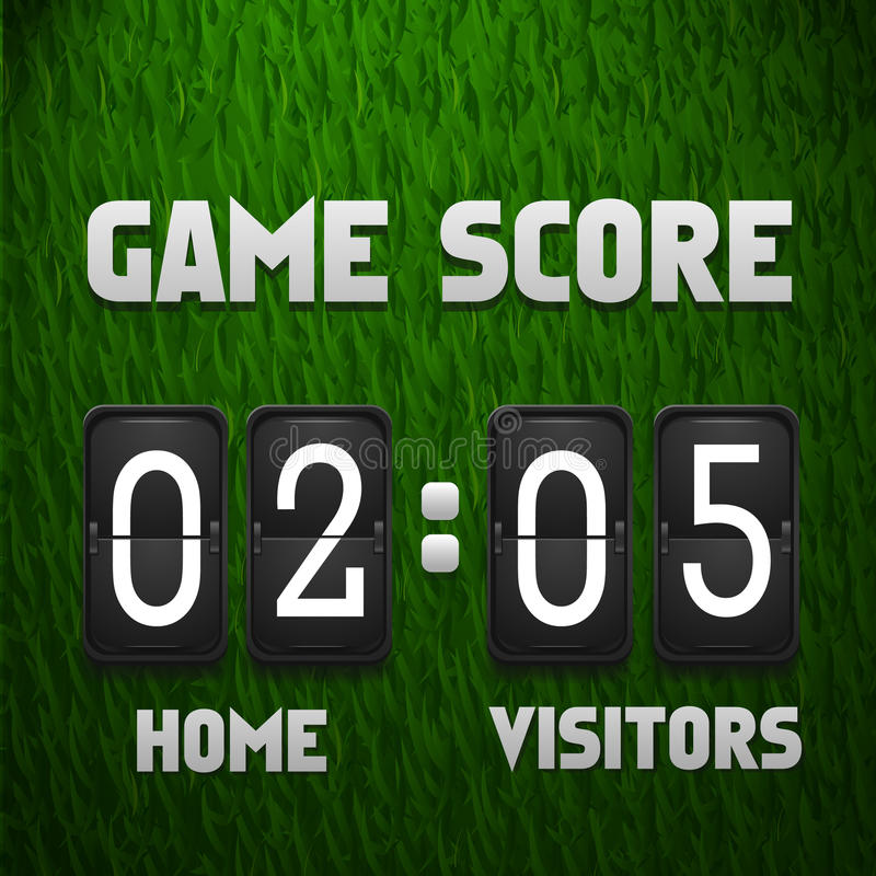 Football soccer scoreboard on grass background. Sport template. Vector illustration royalty free illustration