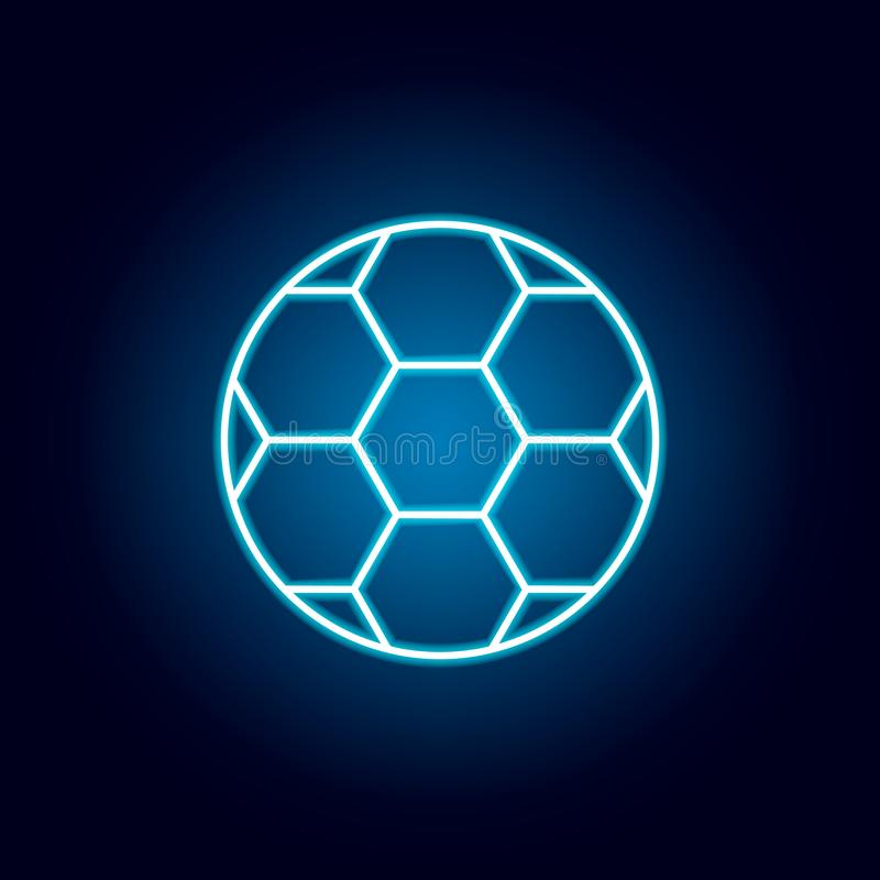 football, soccer, sport outline icon in neon style. elements of education illustration line icon. signs, symbols can be used for stock illustration