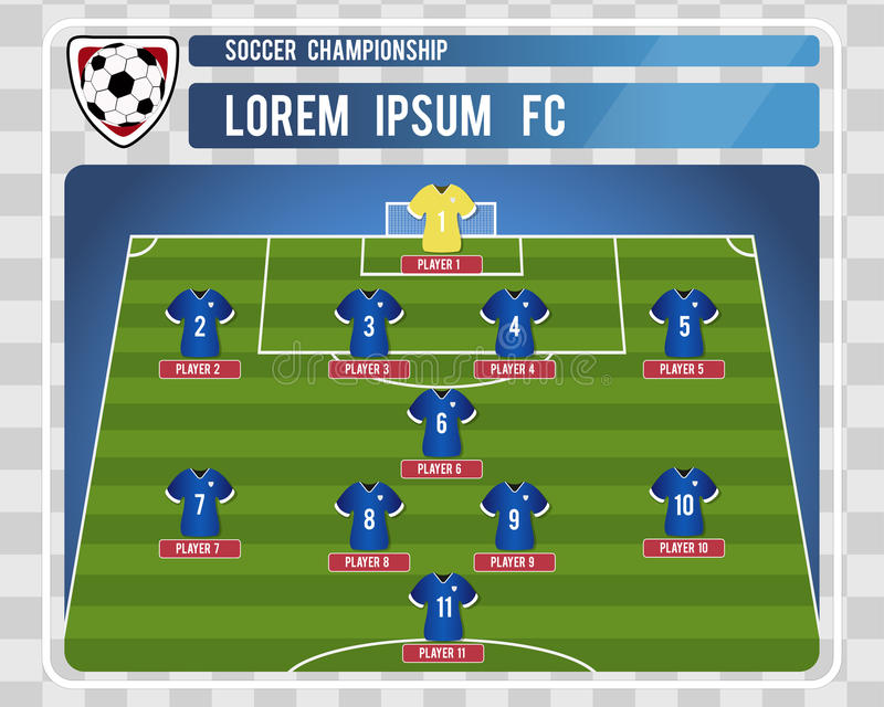 Football or soccer starting lineup with editable arrangement of players. Vector illustration. royalty free stock photo