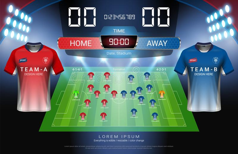 Football or soccer starting lineup, Jersey uniforms and Digital timing scoreboard match vs strategy broadcast graphic template for. Presentation score or game royalty free illustration