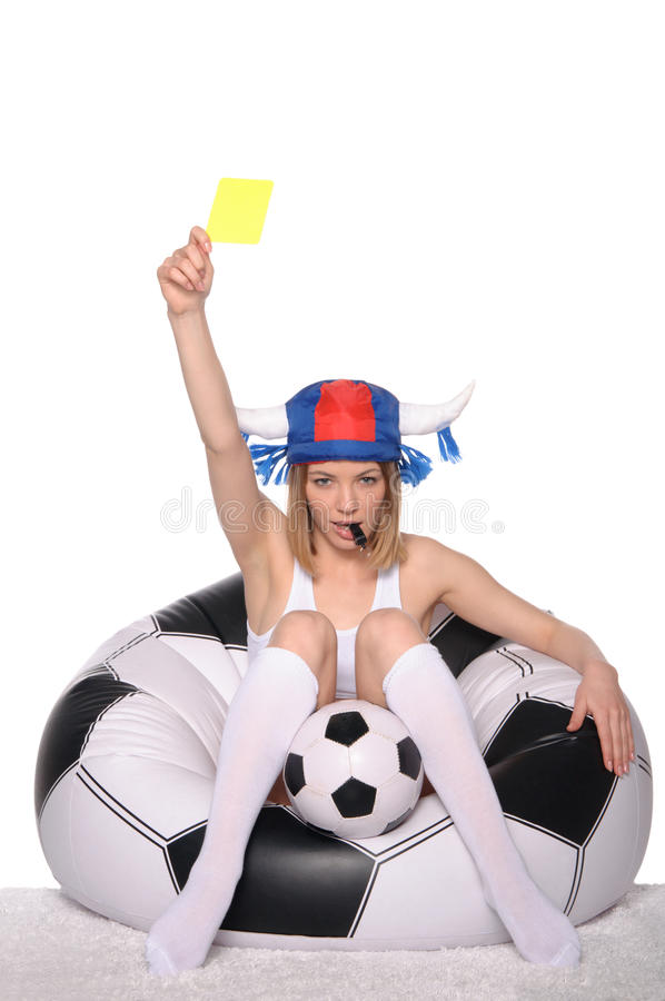 Download Football And Soccer Supporter Showing Yellow Card Stock Image - Image: 23618679