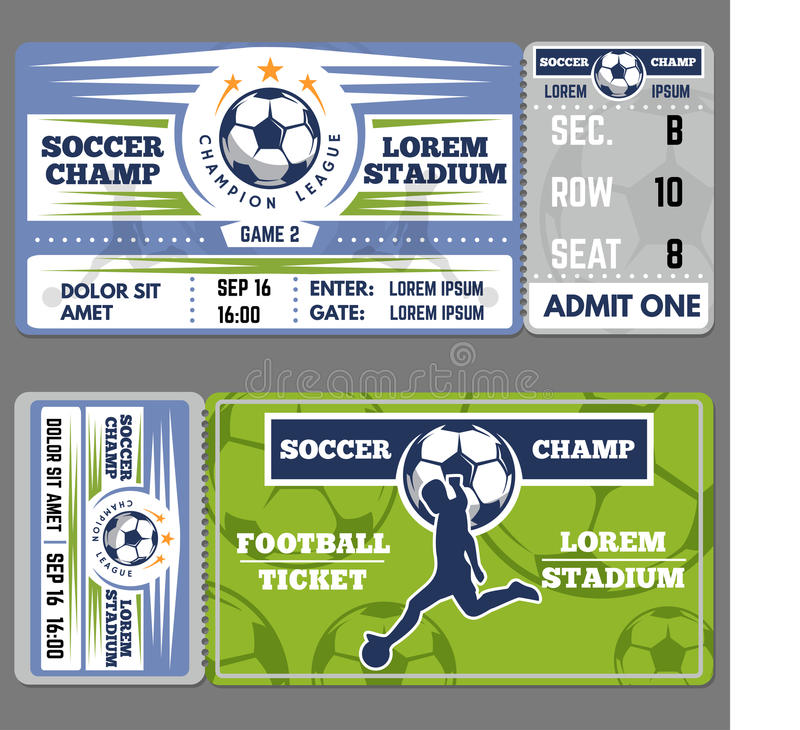 Football Or Soccer Ticket Template Design Stock Vector ...