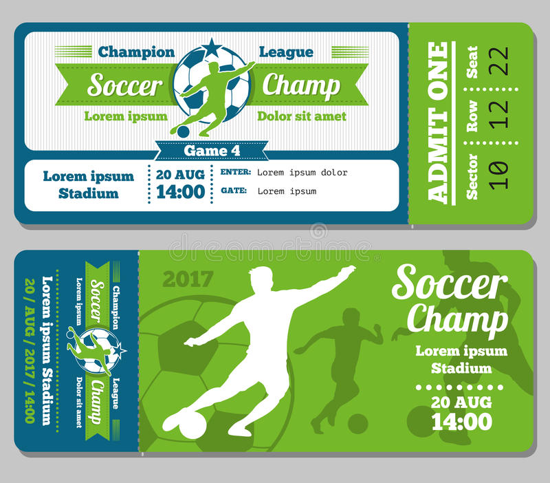 Football soccer vector ticket template stock vector for Sports ticket template free download