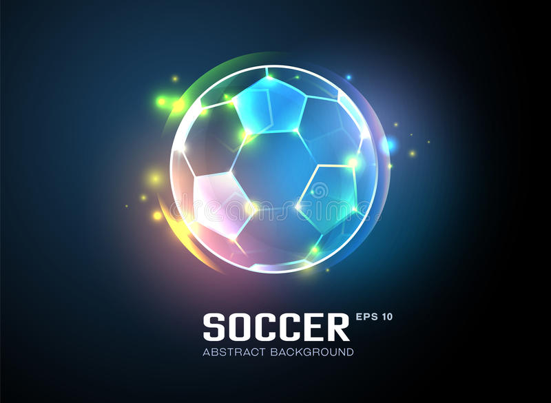 Football with sparkling light abstract background royalty free illustration
