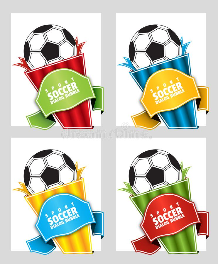 Football. Speech bubble on a sports theme. Price tag template for catalog with space for text. Football. Speech bubble on a sports theme. Origami dialogue banner royalty free illustration