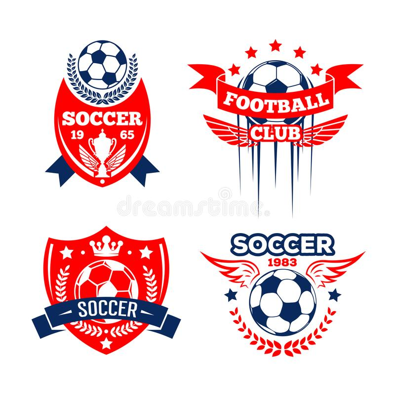 Football sport club of soccer game badge set royalty free illustration