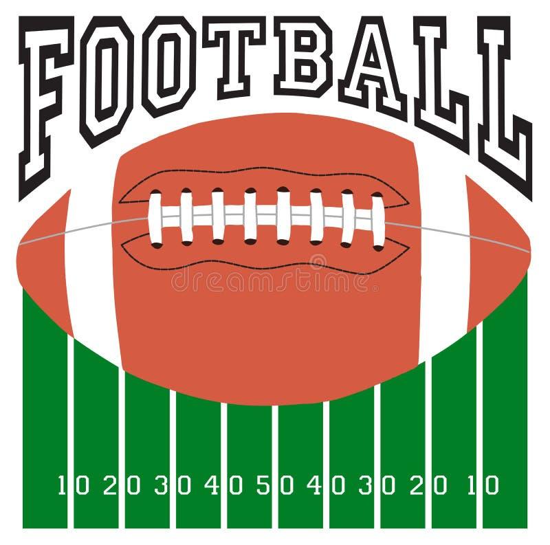 Football Sport Logo. Football logo with a football over a football field royalty free illustration