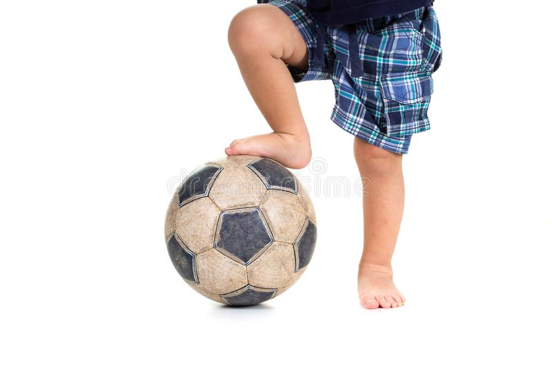 Football sport soccer game with ball and boy,  activity royalty free stock photos